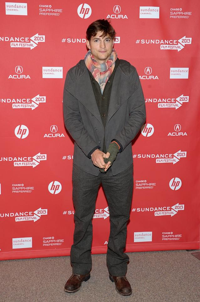 """PARK CITY, UT - JANUARY 25:  Actor Ashton Kutcher attends the """"jOBS"""" Premiere during the 2013 Sundance Film Festival at Eccles Center Theatre on January 25, 2013 in Park City, Utah.  (Photo by Michael Loccisano/Getty Images)"""