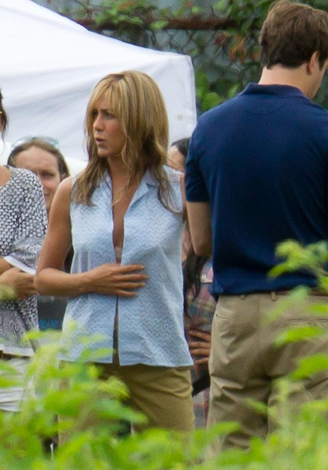 Newly engaged Jennifer Aniston on the set of her new movie We're the Millers in Wilmington, NC.