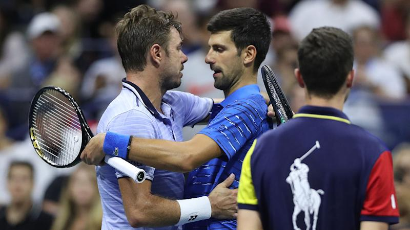 Novak Djokovic and Stan Wawrinka, pictured here after their US Open clash.