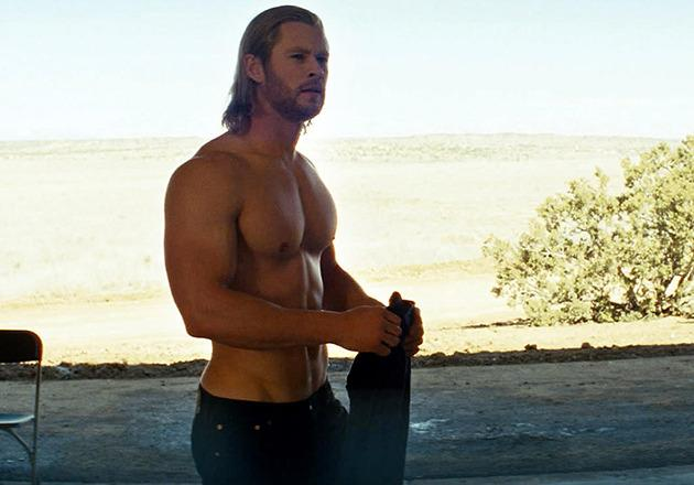 "<p>When the God of Thunder (played by Aussie Hemsworth) was banished to Earth in 'Thor', he needed a change of costume from Asgardian garb to American Jeans and T-shirt…cue this memorable shirtless scene. <br><br><a rel=""nofollow"" href=""http://au.movies.yahoo.com/on-show/article/-/19601657/why-chris-hemsworth-didnt-love-going-toplessmatthemmconeheyfor-thor/"">READ: Why Hemsworth didn't love going topless for 'Thor'</a></p>"