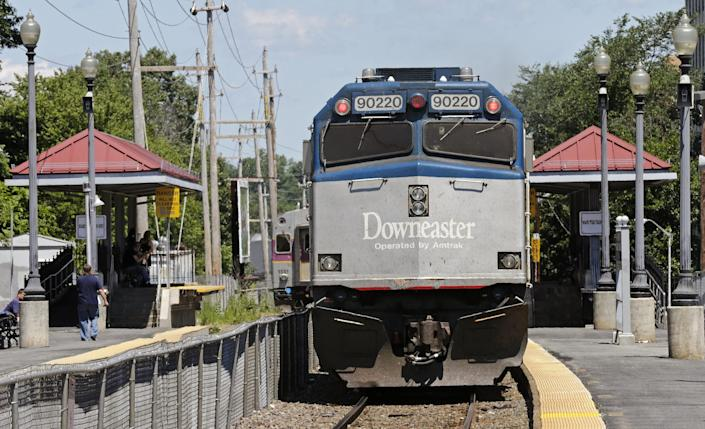 The Amtrak Downeaster operates round-trip trains between Brunswick, Maine, and Boston every day.