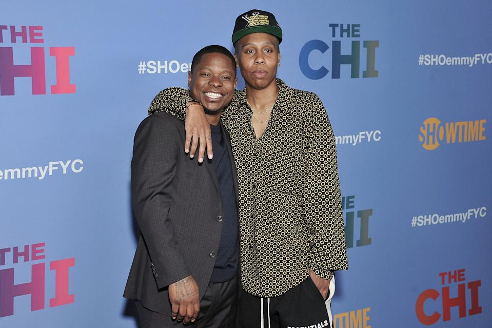 "Jason Mitchell, left, and Lena Waithe attend ""The Chi"" FYC Event at the Pacific Design Center on Wednesday, April 10, 2019, in Los Angeles. (Photo by Richard Shotwell/Invision/AP)"