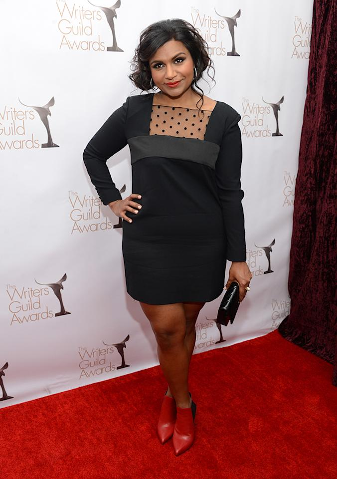 Mindy Kaling arrives at the 2013 WGAw Writers Guild Awards at JW Marriott Los Angeles at L.A. LIVE on February 17, 2013 in Los Angeles, California.  (Photo by Jason Kempin/Getty Images for WGAw)