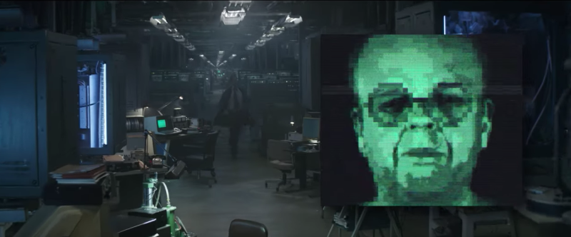Toby Jones' Arnim Zola appears on screen in Avengers: Endgame. (Cinesite/YouTube)