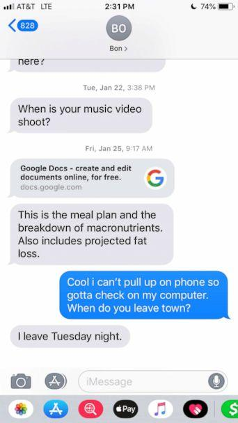 PHOTO: A copy of text messages apparently between Jussie Smollett and one of the Osundairo brothers, whom he calls 'Bon.' (Obtained by ABC News)