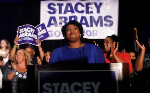 <span>Stacey Abrams, campaigning in Georgia. She is still hoping to force her rival into a run-off</span>