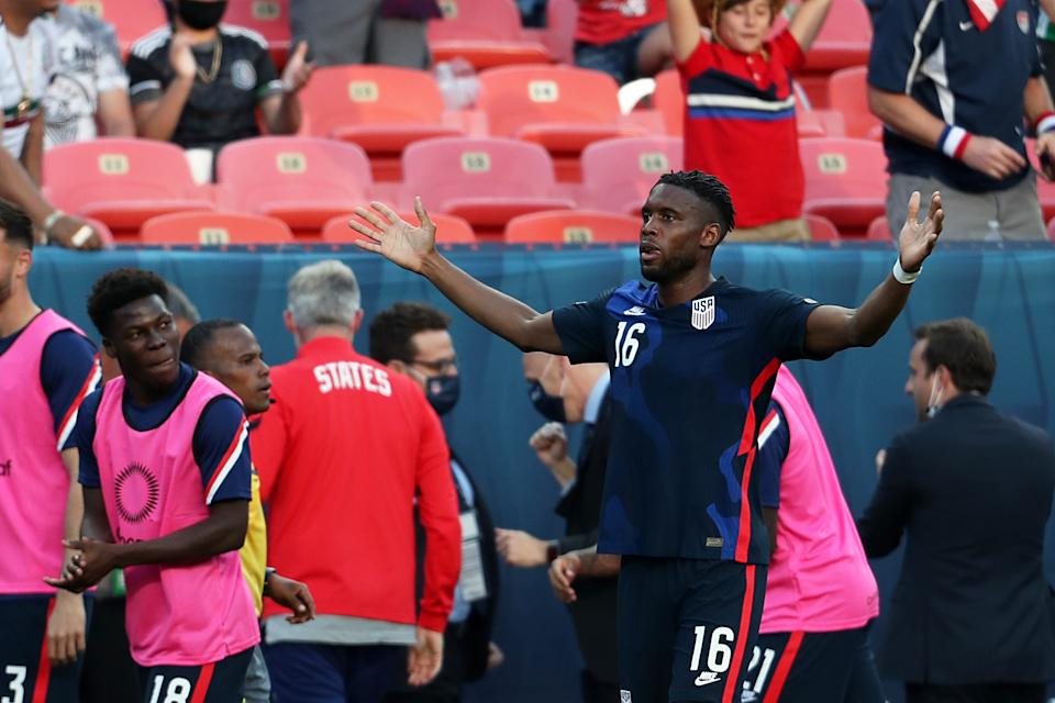 DENVER, CO - JUNE 03: Jordan Siebatcheu Pefok #16 of United States celebrates after scoring the first goal of his team during CONCACAF Nations Leagues semifinals between United States and Honduras at Empower Field At Mile High on June 3, 2021 in Denver, Colorado. (Photo by Omar Vega/Getty Images)