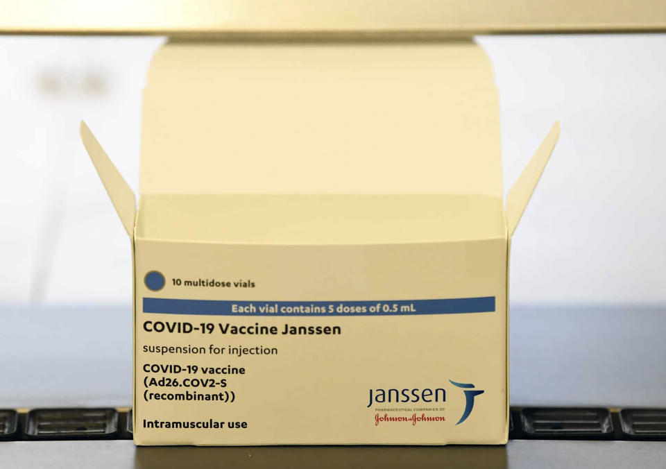 FILE - This March 29, 2021 file photo shows the Johnson & Johnson vaccine at the ASPEN Pharmaceuticals in Port Elizabeth, South Africa. Vaccine doses produced at the plant in South Africa will no longer be exported to Europe after the intervention of South Africa's government, the African Union's COVID-19 vaccine envoy said Thursday, Sept. 2, 2021. (AP Photo/File)