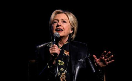 FILE PHOTO - Former U.S. Secretary of State and 2016 Democratic presidential nominee Clinton speaks during the LA Promise Fund's Girls Build Leadership summit in Los Angeles