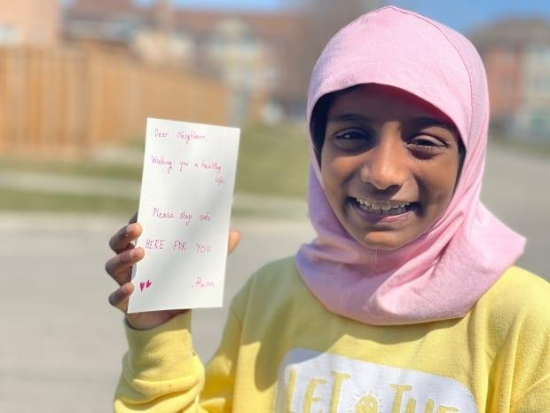 A simple act of kindness by nine-year-old Hana Fatima at an Ontario grocery store last year has since snowballed into a major volunteer project to get supplies to the most vulnerable.  (Chris Glover/CBC - image credit)