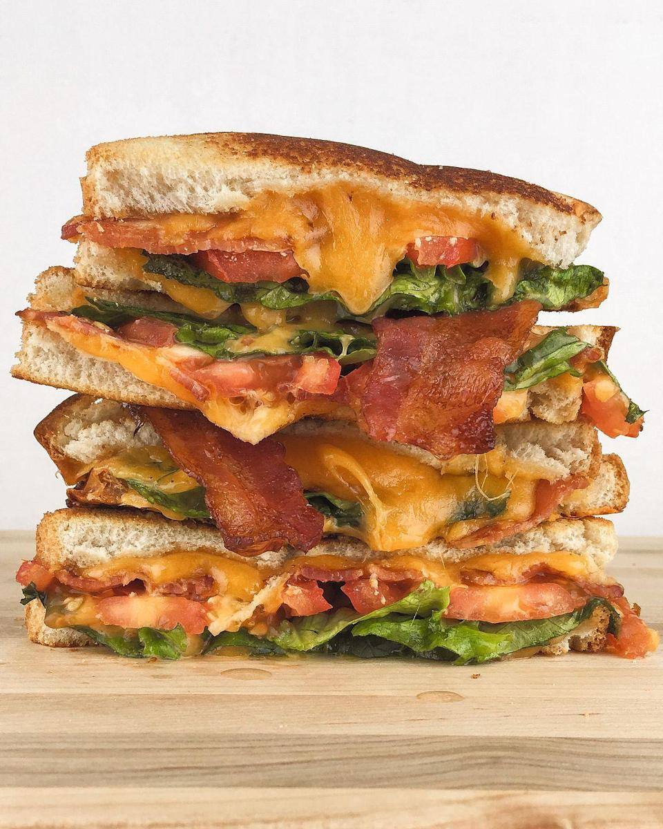 """<p>Cheese is the super-obvious answer to making a better BLT. </p><p>Get the recipe from <a href=""""/cooking/recipe-ideas/recipes/a46497/blt-grilled-cheese-recipe/"""" data-ylk=""""slk:Delish"""" class=""""link rapid-noclick-resp"""">Delish</a>.</p>"""
