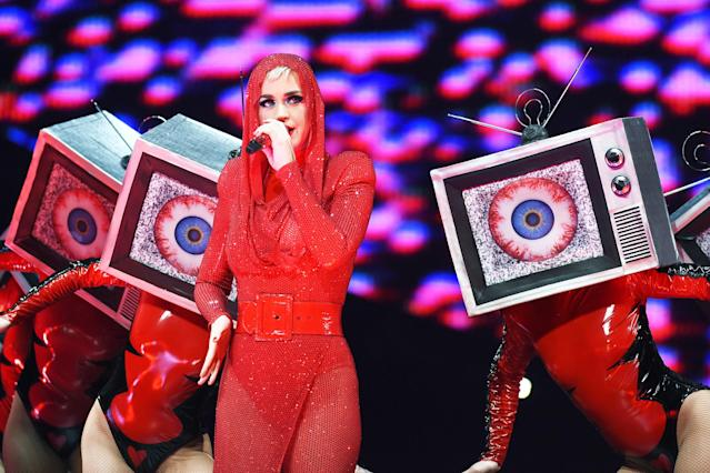 "<p><i>Witness</i> was Perry's first studio album to spend just one week in the top 10 since 2008's <i>One of the Boys</i>. The lead single, ""Chained to the Rhythm,"" reached No. 4, but the two follow-ups, ""Bon Appétit"" and ""Swish Swish,"" missed the top 40.<br>(Photo: Getty Images) </p>"