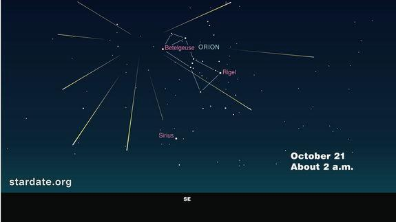 This year's best viewing will be in the several hours around midnight October 20 and before dawn on October 21, according to the editors of <i>StarDate</i> magazine.