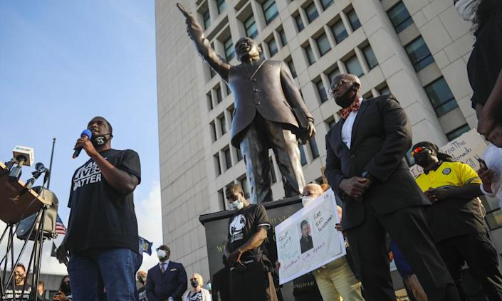 "<span class=""element-image__caption"">Mondaire Jones addresses a Black Lives Matter rally outside the Westchester county courthouse in White Plains, New York, 15 July 2020</span> <span class=""element-image__credit"">Photograph: Bebeto Matthews/AP</span>"
