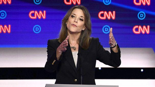 PHOTO: Democratic presidential hopeful author and writer Marianne Williamson gestures as she speaks during the first round of the second Democratic primary debate in Detroit, July 30, 2019. (Brendan Smialowski/AFP/Getty Images)