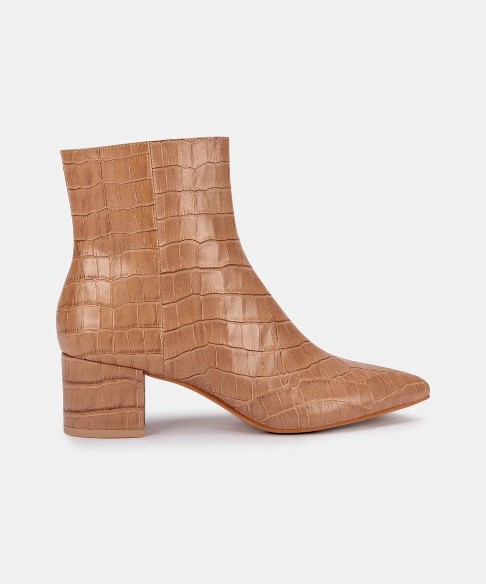 """<br><br><strong>Dolce Vita</strong> Bel Booties, $, available at <a href=""""https://go.skimresources.com/?id=30283X879131&url=https%3A%2F%2Fwww.dolcevita.com%2Fcollections%2Fshoes-boots-booties%2Fproducts%2Fbel-booties-cafe-croco-print-leather"""" rel=""""nofollow noopener"""" target=""""_blank"""" data-ylk=""""slk:Dolce Vita"""" class=""""link rapid-noclick-resp"""">Dolce Vita</a>"""