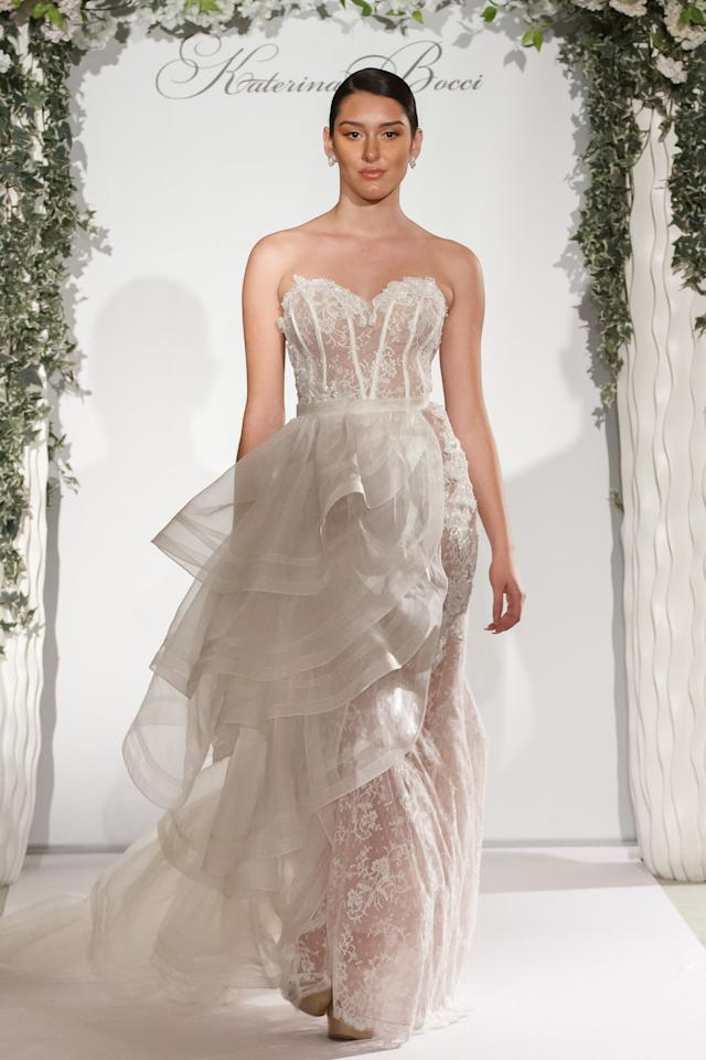 <p>A model wears a gown from the Katerina Boccifall-winter 2017 bridal collection.</p><p><i>(Photo: Courtesy of Katerina Bocci)</i></p>