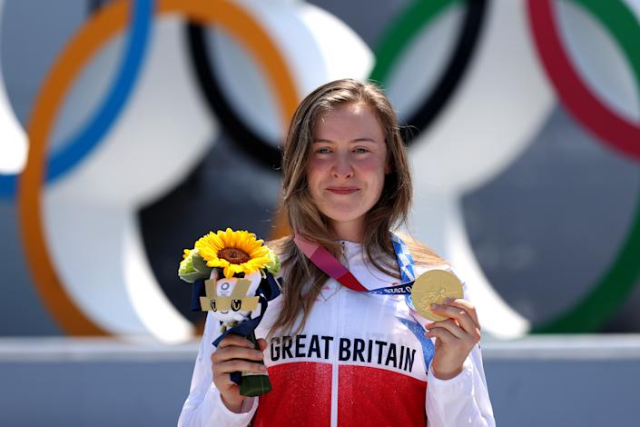 TOKYO, JAPAN - AUGUST 01: Gold Medalist Charlotte Worthington of Team Great Britain poses for a photo with her gold medal after the Women's Park Final of the BMX Freestyle on day nine of the Tokyo 2020 Olympic Games at Ariake Urban Sports Park on August 01, 2021 in Tokyo, Japan. (Photo by Ezra Shaw/Getty Images)