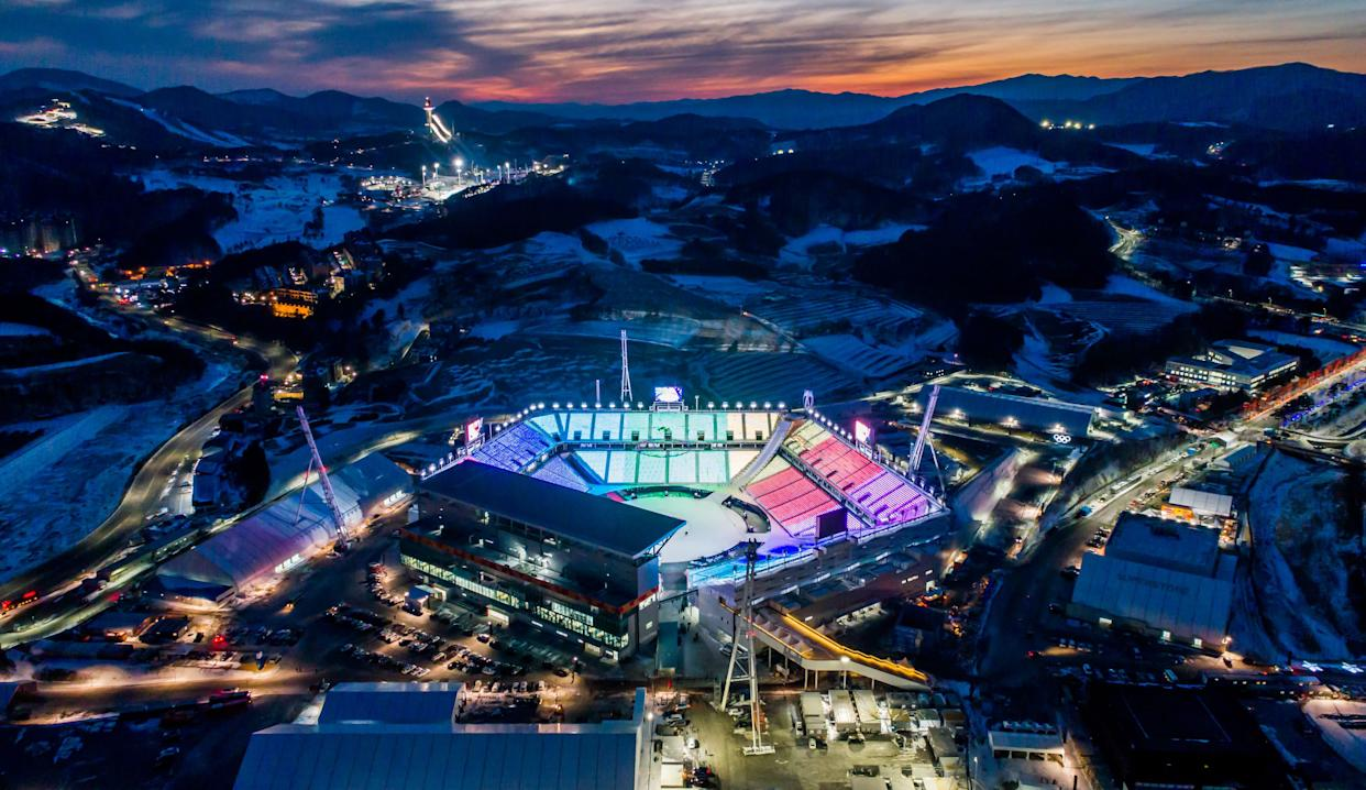 The Pyeongchang Olympic Stadium, seen at dawn on Jan. 25, 2018, is theepitomeof planned obsolescence. (Photo: SeongJoon Cho/Bloomberg via Getty Images)