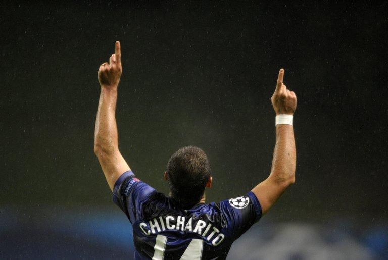 Manchester United's Javier Hernandez celebrates after scoring during the UEFA Champions League at the Municipal stadium of Braga on November 7, 2012. Alex Ferguson has warned Manchester United's title rivals that Hernandez will play a significant role in the battle for the Premier League