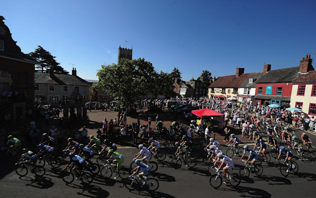 IPSWICH, ENGLAND - SEPTEMBER 09: Riders cycle through the town of Woodbridge during Stage One of the Tour of Britain at Woodbridge on September 9, 2012 in Ipswich, England. (Photo by Jamie McDonald/Getty Images)