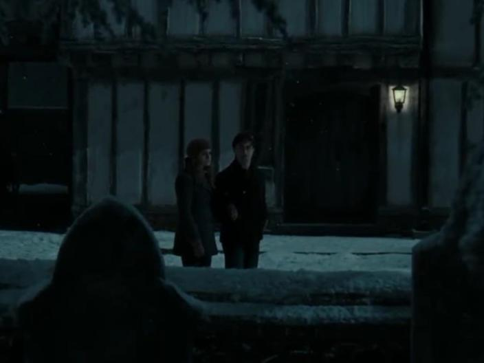 Harry and Hermione visit Godric's Hollow.