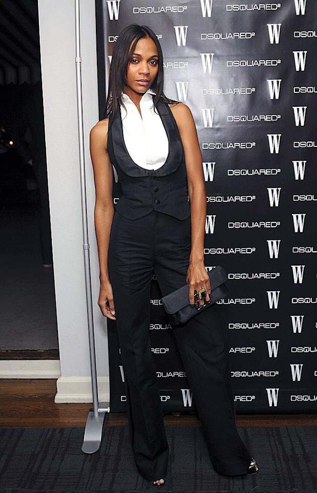 """Zoe Saldana sports one of this season's hottest trends -- reinterpreted menswear. Her tuxedo-inspired top is truly divine, as is her monstrous cocktail ring. Stefanie Keenan/<a href=""""http://www.wireimage.com"""" target=""""new"""">WireImage.com</a> - November 6, 2008"""