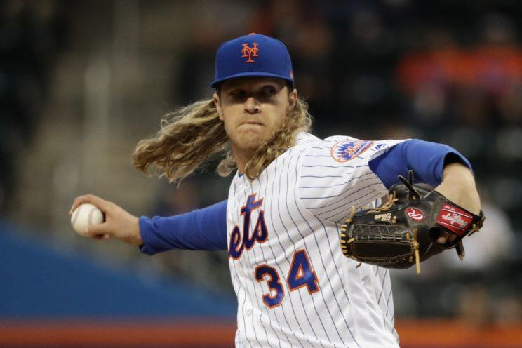 Mets pitcher Noah Syndergaard has some theories about Mr. Met. (AP Photo)