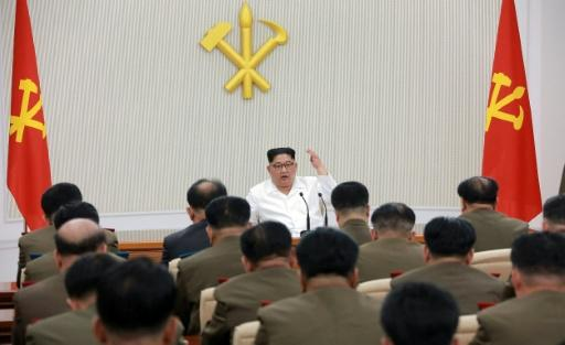North Korean leader Kim Jong Un addresses members of the military in Pyongyang