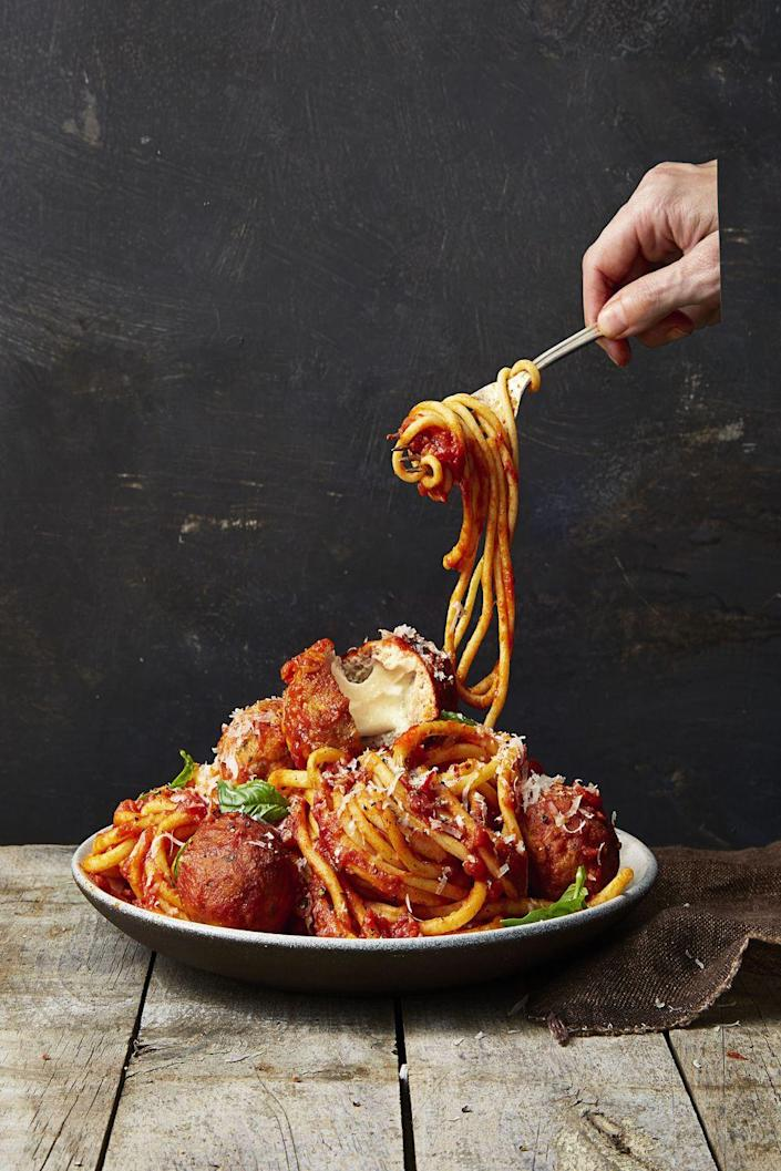 """<p>Alright, alright — this one takes 45 minutes to perfect, we'll admit. But the extra 15 minutes of prep time ensures your meatballs feel more like a special night out than a routine dine-and-dash at home.</p><p><a href=""""https://www.goodhousekeeping.com/food-recipes/easy/a36631/mozzarella-stuffed-turkey-meatballs/"""" rel=""""nofollow noopener"""" target=""""_blank"""" data-ylk=""""slk:Get the recipe for Mozzarella-Stuffed Turkey Meatballs »"""" class=""""link rapid-noclick-resp""""><em>Get the recipe for Mozzarella-Stuffed Turkey Meatballs »</em></a></p>"""