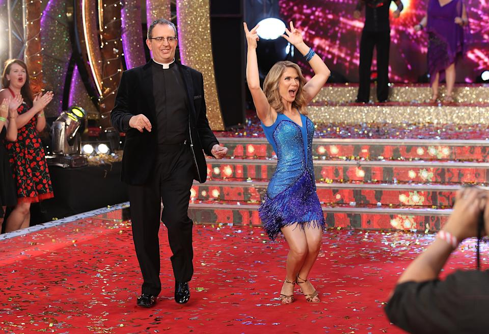 LONDON, ENGLAND - AUGUST 28:  Contestants Reverend Richard Coles and Charlotte Hawkins  attend the 'Strictly Come Dancing 2017' red carpet launch at The Piazza on August 28, 2017 in London, England.  (Photo by Mike Marsland/Mike Marsland/WireImage)