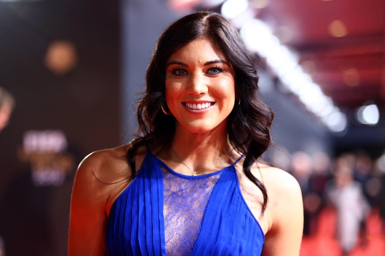 ZURICH, SWITZERLAND - JANUARY 07: Hope Solo poses during the red carpet arrivals for the FIFA Ballon d'Or Gala 2012 on January 7, 2013 at Congress House in Zurich, Switzerland. (Photo by Christof Koepsel/Getty Images)