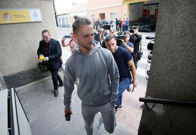 Maiki Fernandez arrives at a Spanish police station in Elda