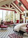 """<p>The custom woven plaid on the walls and raised ceiling of this <a href=""""https://www.veranda.com/decorating-ideas/a1773/utah-mountain-house/"""" rel=""""nofollow noopener"""" target=""""_blank"""" data-ylk=""""slk:Utah mountain bedroom"""" class=""""link rapid-noclick-resp"""">Utah mountain bedroom</a> make the airy space feel cozier. Designer <a href=""""https://www.anthonybaratta.com/"""" rel=""""nofollow noopener"""" target=""""_blank"""" data-ylk=""""slk:Anthony Baratta"""" class=""""link rapid-noclick-resp"""">Anthony Baratta</a> uses a warm palette filled with red shades to offset the home's alpine setting. The <a href=""""https://fave.co/2IFiLaZ"""" rel=""""nofollow noopener"""" target=""""_blank"""" data-ylk=""""slk:Madeline Stuart"""" class=""""link rapid-noclick-resp"""">Madeline Stuart</a> bed is decorated with bedding from the Linen Shop. The antique Victorian chair is in a <a href=""""https://fave.co/2f4jkMV"""" rel=""""nofollow noopener"""" target=""""_blank"""" data-ylk=""""slk:Holland & Sherry"""" class=""""link rapid-noclick-resp"""">Holland & Sherry</a> fabric. The <a href=""""http://www.casatapetesarraiolos.com/en/indexuk.htm"""" rel=""""nofollow noopener"""" target=""""_blank"""" data-ylk=""""slk:Casa dos Tapetes de Arraiolos"""" class=""""link rapid-noclick-resp"""">Casa dos Tapetes de Arraiolos</a> rug is paired with a carpet from <a href=""""https://www.amctdesign.com/"""" rel=""""nofollow noopener"""" target=""""_blank"""" data-ylk=""""slk:Anthony Monaco Carpet & Textile Design"""" class=""""link rapid-noclick-resp"""">Anthony Monaco Carpet & Textile Design</a>.</p>"""