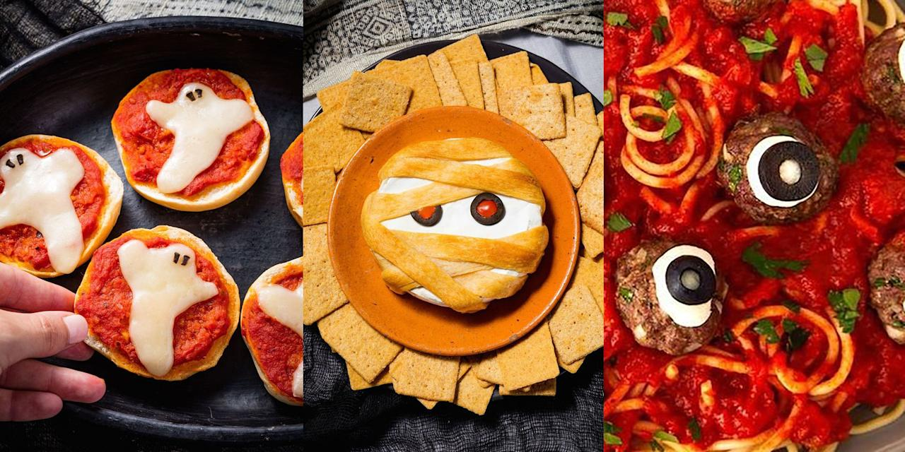 """<p>It's Halloween and you're on the lookout for some spook-tacular (but easy) Halloween Food Ideas, that aren't going to require much effort. Lucky for you, we've rounded up a selection of delicious-tasting and ultra-easy Halloween recipes that you're going to love. With everything from <a href=""""https://www.delish.com/uk/cooking/recipes/a29351932/ghost-pizza-bagels-recipe/"""" target=""""_blank"""">Ghost Pizza Bagels</a> (oh yes), <a href=""""https://www.delish.com/uk/cooking/recipes/a29221858/eyeball-pasta-halloween-dinner-recipe/"""" target=""""_blank"""">Eyeball Pasta</a> (you heard me) to <a href=""""https://www.delish.com/uk/cooking/a33978422/jack-o-lantern-quesadillas-recipe/"""" target=""""_blank"""">Jack O' Lantern Quesadillas</a> (wot?), there's plenty of fun, easy to make Halloween recipes for you to try this year round.</p>"""