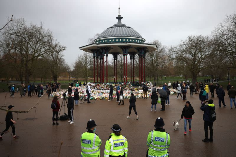 Memorial site at Clapham Common Bandstand, following the kidnap and murder of Sarah Everard, in London