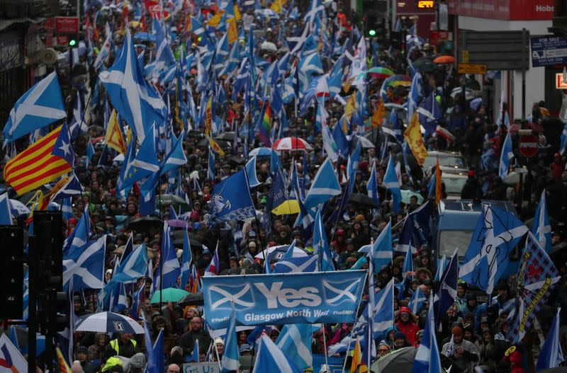 FILE PHOTO: Demonstrators march for Scottish Independence through Glasgow City centre