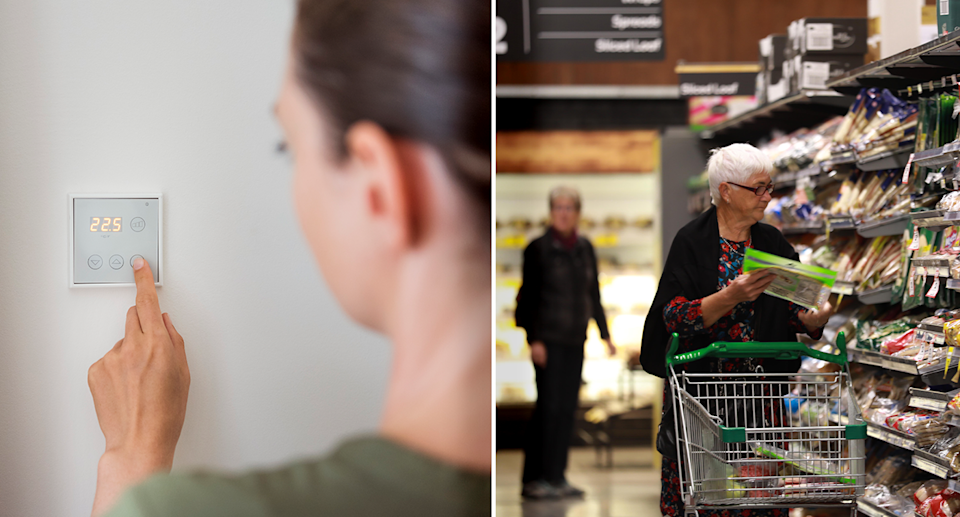 Left - A woman adjusting the heating. Right - A woman shopping in a supermarket.
