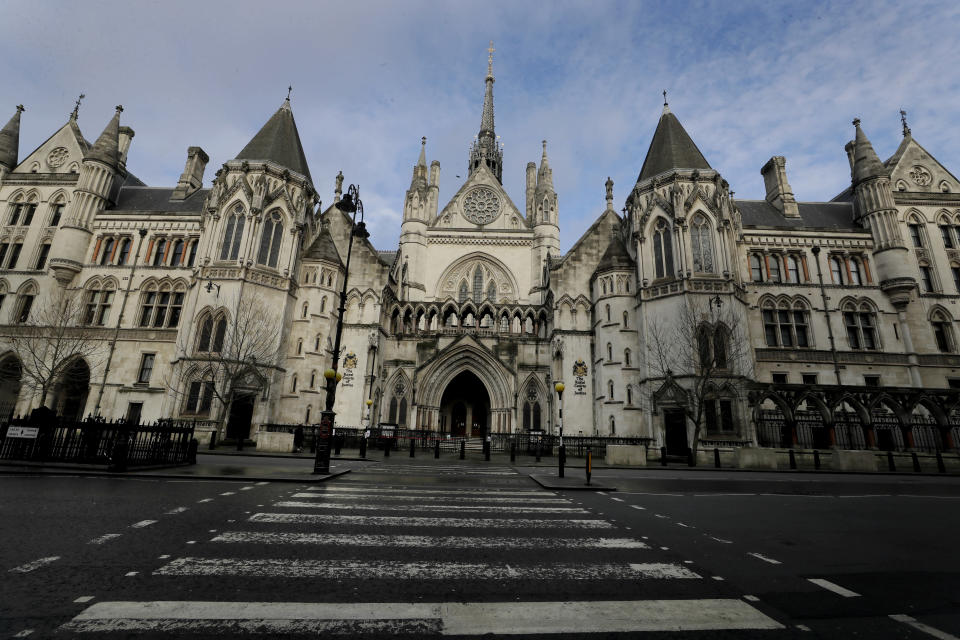 A view of the Royal Courts Of Justice, in London, Tuesday, Jan. 19, 2021. Meghan, the Duchess of Sussex will ask a High Court judge to rule in her favour in her privacy action against the Mail on Sunday over the publication of a handwritten letter to her estranged father. The case will be heard remotely due to the pandemic. (AP Photo/Kirsty Wigglesworth)