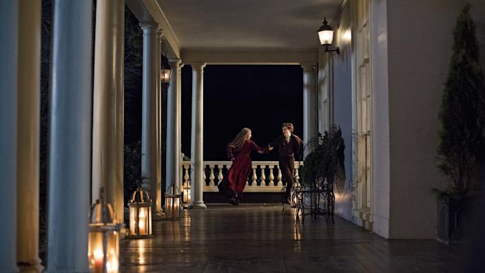 """The veranda where Jo March (Saoirse Ronan) and Laurie (Timothée Chalamet) danced in """"Little Women"""" can be found in Massachusetts. <span class=""""copyright"""">(Wilson Webb)</span>"""