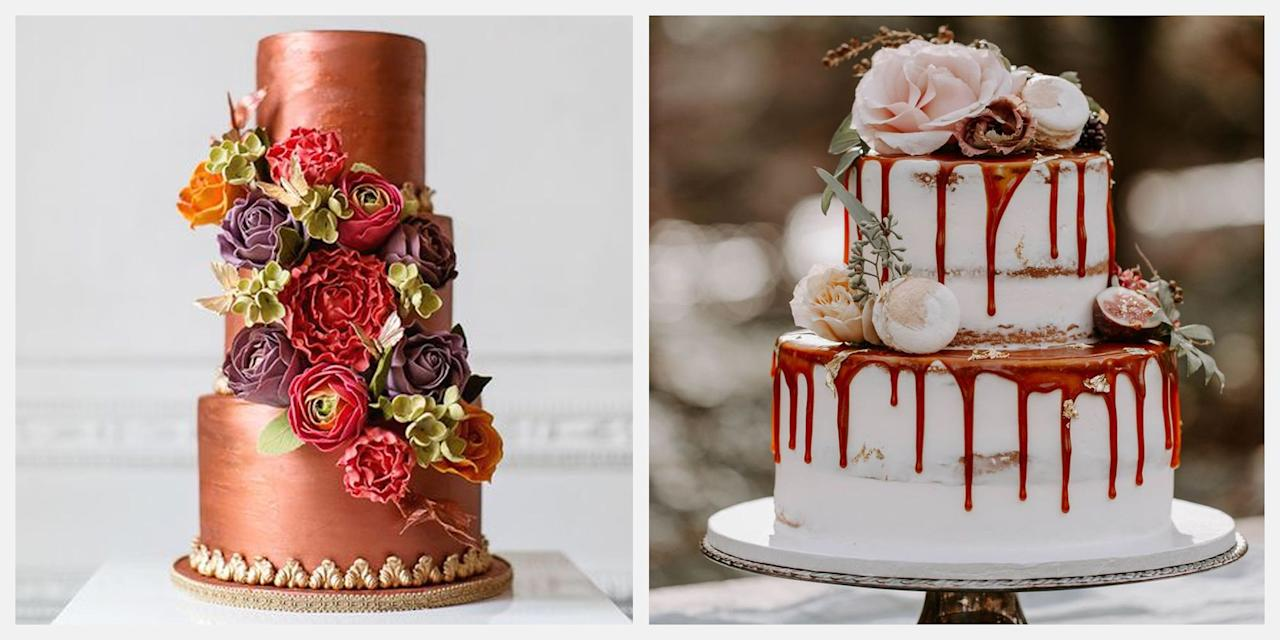 """<p>We love a couple who isn't afraid to ditch a traditional wedding cake for something more daring. Not only are the flavors of the fall season—cinnamon, nutmeg, maybe even a little pumpkin spice—exceptionally decadent, the design inspiration is endless. While an all-white cake can be classic, try <a href=""""https://www.google.com/search?ei=XxQyXb-9NKPz5gKWmLioAQ&q=elledecor.com+fall+wedding+colors&oq=elledecor.com+fall+wedding+colors&gs_l=psy-ab.3...6319.8098..8303...0.0..0.103.1161.13j1......0....1..gws-wiz.......0i71j35i304i39j0i13.EgHnDQgnQTc&ved=0ahUKEwj_6I671sHjAhWjuVkKHRYMDhUQ4dUDCAo&uact=5"""">adding a little color</a>, texture, or metallics all in the name of fall! For <a href=""""https://www.elledecor.com/life-culture/entertaining/g3205/fall-wedding-ideas/"""" target=""""_blank"""">autumn weddings</a>, copper, burgundy, and a range of moody shades are always a good idea—especially on a cake. Adding seasonal flora and foliage? Even better. <br></p><p>If you weren't so sure a fall wedding was for you, these 20 decadent wedding cakes make a pretty compelling case.</p>"""