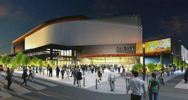 A rendering shows an updated vision for Calgary's planned new arena.  (City of Calgary - image credit)