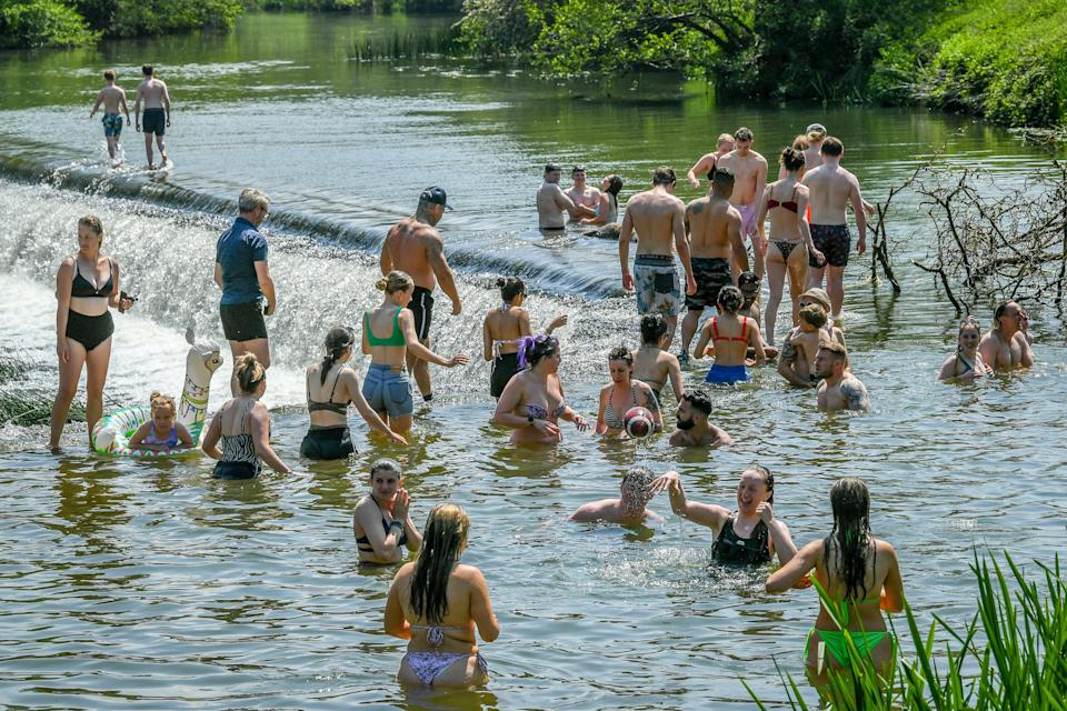 Cooling off in Warleigh Weir, Bath (PA Wire)