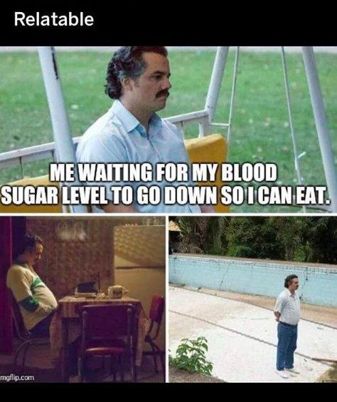 me waiting for my blood sugar to go down so i can eat, sad person waiting