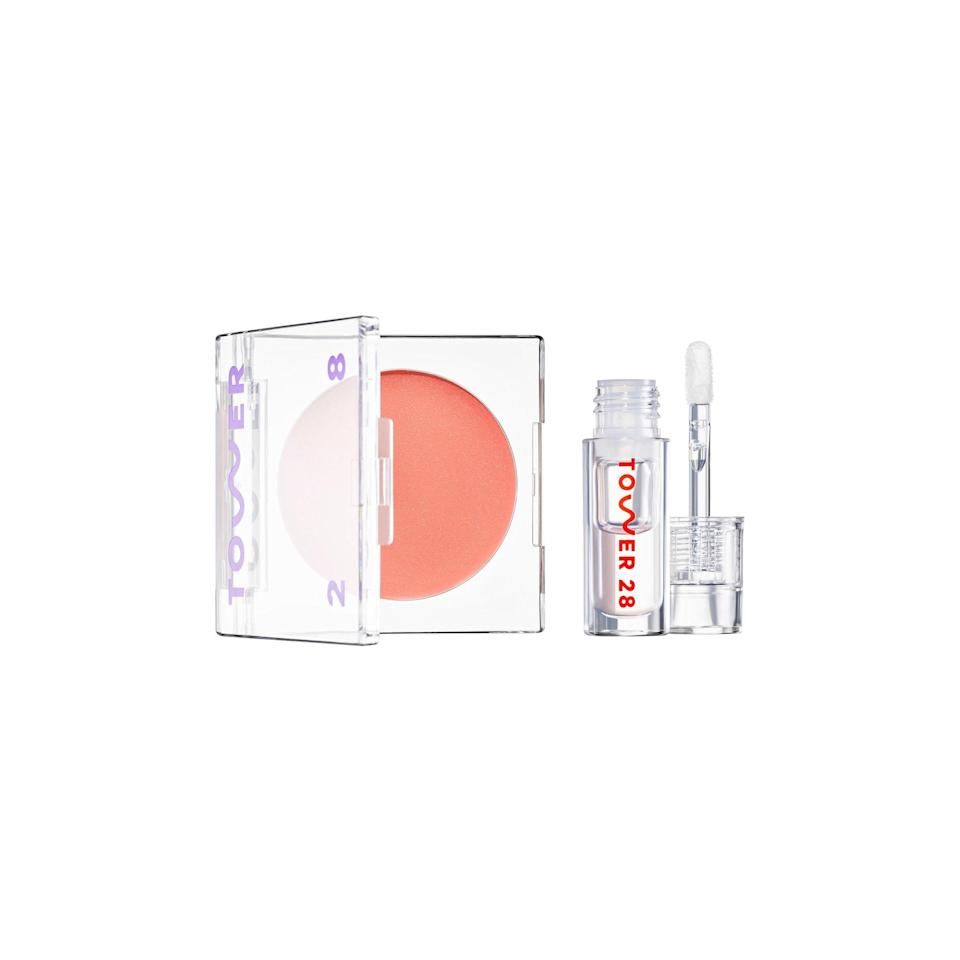 "There's no glitter in sight, but something about this clear gloss and peachy cheek balm has understated holiday beauty written all over it. Add to cart for frosty vibes. $22, Tower 28 Beauty. <a href=""https://www.sephora.com/product/tower-28-mini-lip-cheek-duo-set-P459824?skuId=2369577&nrtv_cid=be1610423a821785c17b750c2b81096b860af90a9807911a9451e7d0d71f915d&om_mmc=ppc-NV_24044480_8751158_glamour_1721652866352400827&country_switch=us&lang=en&dclid=CJCLz6a_yewCFTA-AQodG9cEnQ"" rel=""nofollow noopener"" target=""_blank"" data-ylk=""slk:Get it now!"" class=""link rapid-noclick-resp"">Get it now!</a>"
