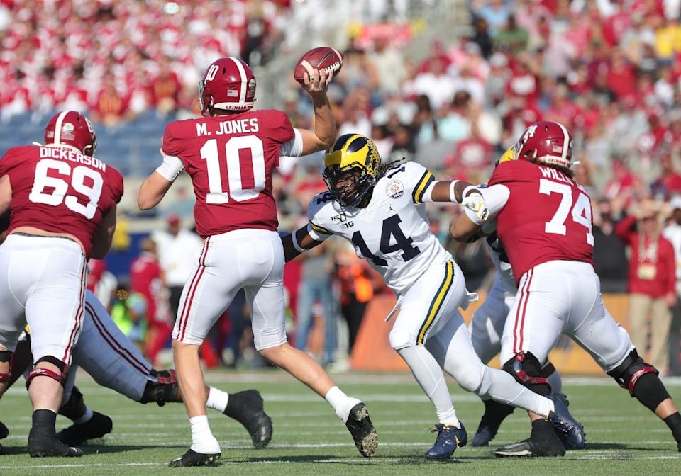 Michigan defensive back Josh Metellus rushes Alabama quarterback Mac Jones during the first half of U-M's 35-16 loss in the Citrus Bowl on Wednesday, Jan. 1, 2020, in Orlando, Florida.