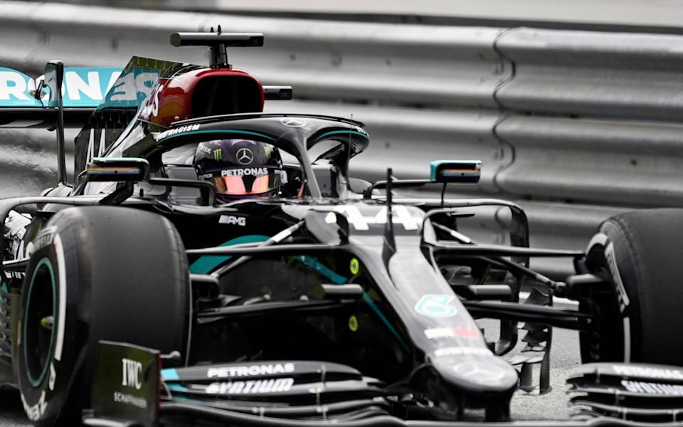 Mercedes driver Lewis Hamilton of Britain steers his car during the first practice session at the Red Bull Ring racetrack in Spielberg, Austria, Friday, July 3, 2020. The Austrian Formula One Grand Prix will be held on Sunday - Joe Klamar/Pool via AP