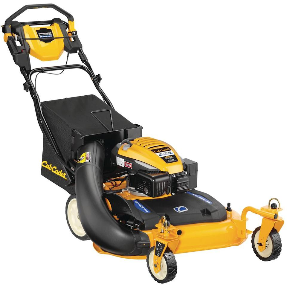 """<p><strong>Cub Cadet</strong></p><p>homedepot.com</p><p><strong>$899.00</strong></p><p><a href=""""https://www.homedepot.com/p/Cub-Cadet-28-in-195-cc-3-in-1-Rear-Wheel-Drive-Gas-Push-Button-Electric-Start-Walk-Behind-Self-Propelled-Lawn-Mower-CC600/308039730"""" target=""""_blank"""">Buy Now</a></p><p>We recently tested <a href=""""https://www.popularmechanics.com/home/lawn-garden/a26624707/cub-cadet-600-cc-push-lawn-mower/"""">Cub Cadet's 28-inch version</a> and found the machine much to our liking. Note that the Cub has front caster wheels, a great choice for intricate landscapes that require you to pivot in and out of landscape features.</p>"""