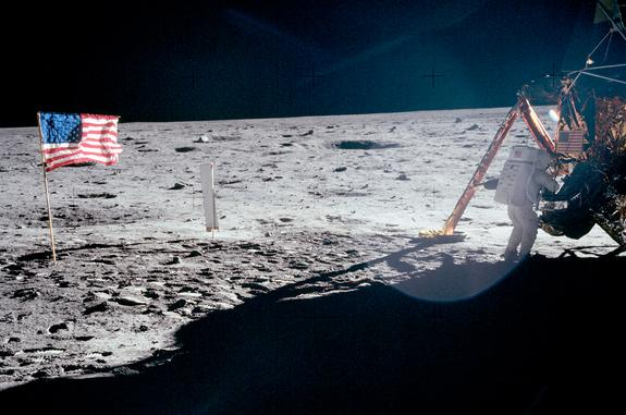 """The only full-body photograph of Neil Armstrong on the moon shows him working at the Apollo 11 lunar module """"Eagle"""" on July 20, 1969. The first man to set foot on the lunar surface was inadvertently captured on film by Buzz Aldrin, who was task"""