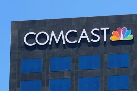 The Comcast NBC logo is shown on a building in Los Angeles California
